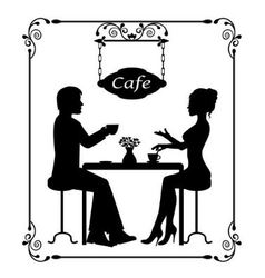 Silhouettes of a loving couple in a cafe and vinta vector
