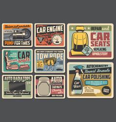 Spare parts vintage retro metal signs vector