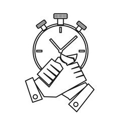 Stopwatch hand commitment teamwork together vector