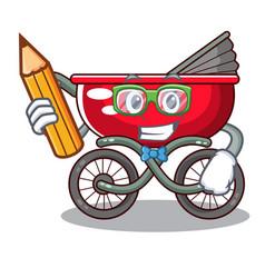 Student cartoon baby stroller in the beach vector