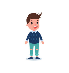 stylish little kid wearing casual clothes blue vector image