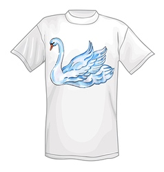 T-shirt with watercolor handpainted swan vector image