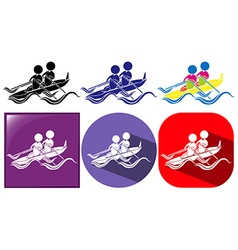 Three designs of kayaking icon vector image
