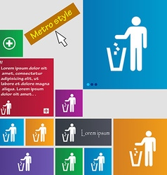 Throw away the trash icon sign buttons Modern vector