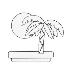 tree palm and sun vector image