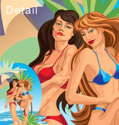 Two girls on the beach vector image
