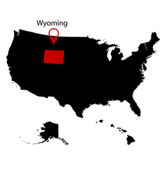 us state on the map wyoming vector image