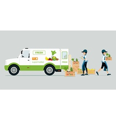 Vehicles carrying vegetables vector image