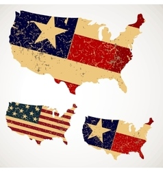 Vintage Map USA made of a flag United States vector