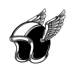 winged racer helmet on light background design vector image