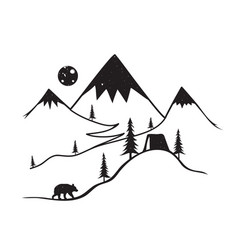with wild bear mountains with snow moon camping vector image