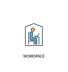 workspace concept 2 colored line icon simple vector image