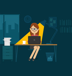 young woman sitting at office desk at night vector image