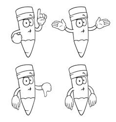 Black and white thinking cartoon pencils set vector image vector image