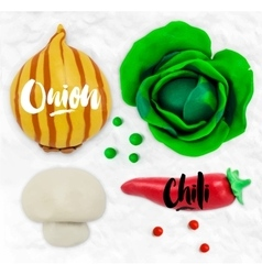 Plasticine vegetables onion vector image