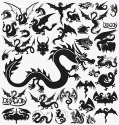 Set of black dragons vector image