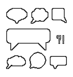 set of white pixel outline speech bubbles vector image vector image