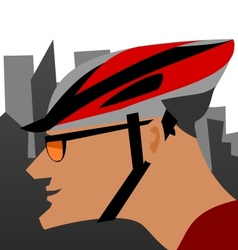 Biker and the city vector image vector image