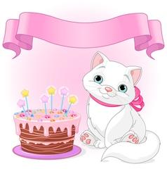 Cat Birthday Celebrating vector image