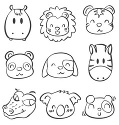 collection doodle animal head style vector image vector image