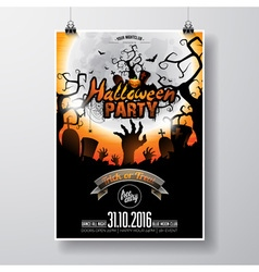 Halloween Party Flyer with pumpkin and moon vector image vector image