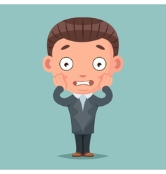 Scared panick businessman mascot fear terror vector image