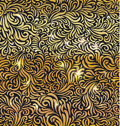 Seamless golden floral pattern with lights vector image