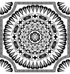 black pattern of spirals swirls and chains vector image