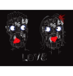 Couple Of Robots vector image vector image