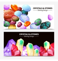 Crystal Stones And Rocks Banners vector image vector image
