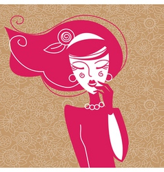 cute girl and floral background vector image vector image
