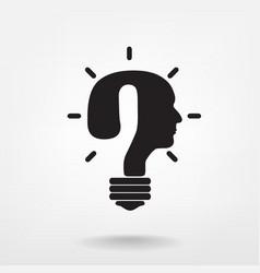 question mark man head symbol and light bulb shape vector image
