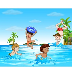 Boys swimming and diving in the sea vector image vector image