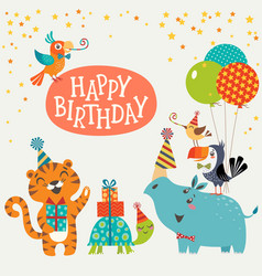 Cute jungle animals happy birthday card vector image vector image