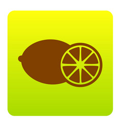 fruits lemon sign brown icon at green vector image vector image