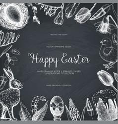 happy easter day vintage design vector image vector image