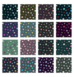 Set of seamless stars patterns vector image