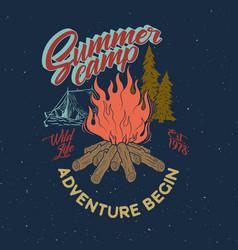 summer camp adventure vintage graphic bonfire vector image