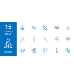 15 space icons vector