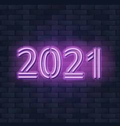 2021 new year concept with colorful neon lights vector image