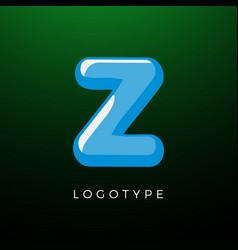 3d playful letter z kids and joy style symbol vector