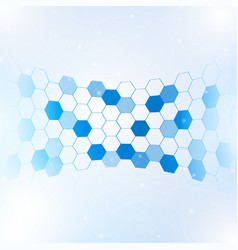 Abstract hexagon with lines and points background vector