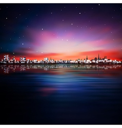 abstract night background with purple sunset in vector image