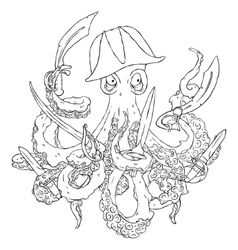 Angry pirate-octopus with arms Sword dagger vector