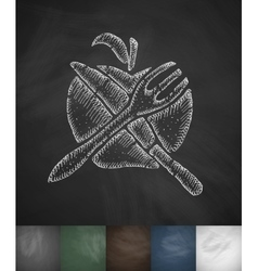 Apple Knife Fork icon Hand drawn vector