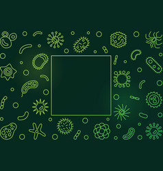 Bacterial cells green frame microbiology vector