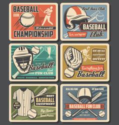 baseball sport equipment vintage cards vector image