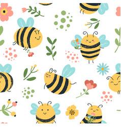 bees seamless pattern cute hand drawn honey vector image