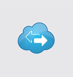 Blue clouds 2 side arrow icon vector