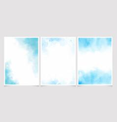 blue watercolor wash splash with golden frame 5x7 vector image